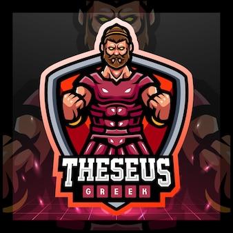 Thesesus griekse mascotte esport logo ontwerp