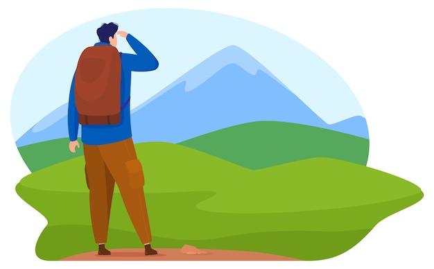 Thirisme, actieve levensstijl. een man bovenop een berg kijkt naar de horizon naar de valleien en bergen. cartoon stijl,