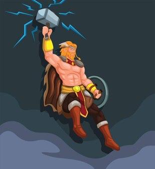 Thor goddonder met bliksemhamer vliegende karakterillustratievector