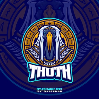 Thoth egyptische god mascotte logo sjabloon