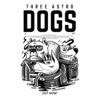 Three astro dogs black and white illustration