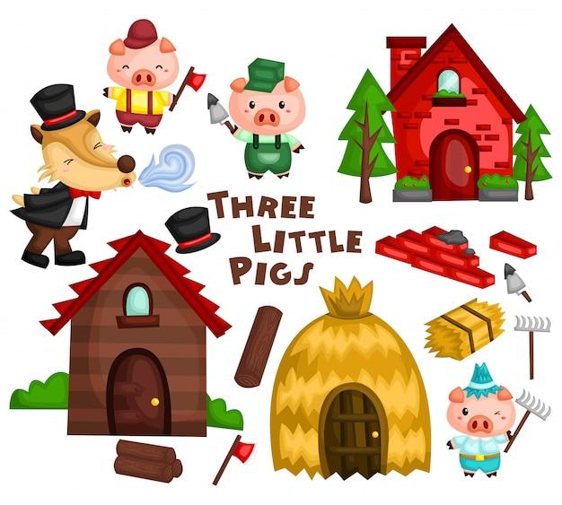 Three little pig vector set