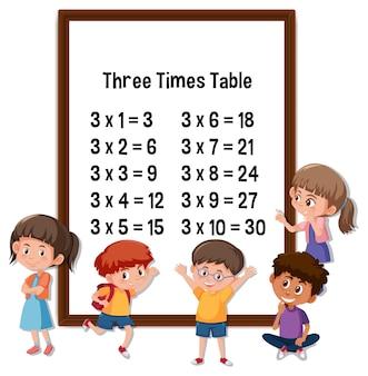 Three times table met veel stripfiguren voor kinderen