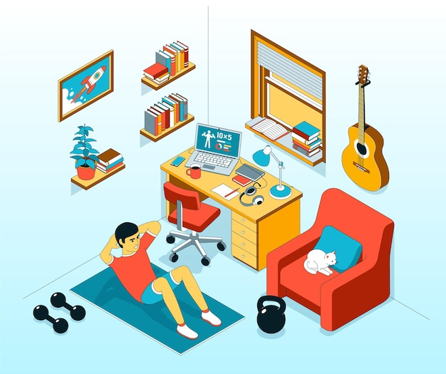 Thuis abs oefenen crunch in de werkkamer