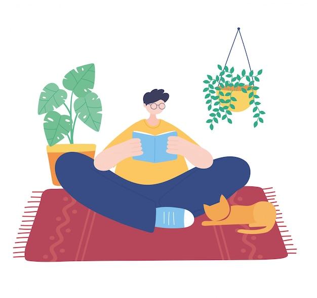 Thuis blijven, jongen leesboek met kat in tapijt