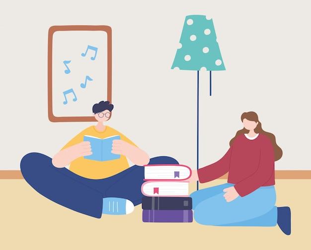 Thuis blijven, man leesboek en meisje met boeken, zelfisolatie, activiteiten in quarantaine voor coronavirus