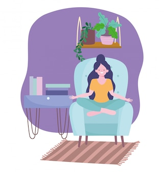 Thuis blijven, meisje in yoga pose op stoel met boeken en planten
