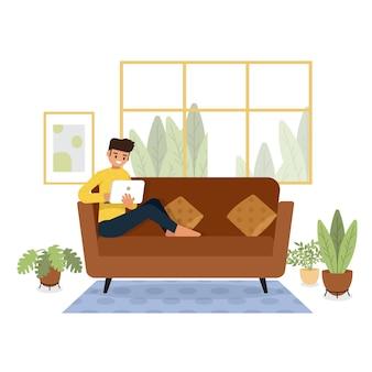 Thuis blijven, quarantaine, mensen thuis, kamer of appartement, jonge man ontspannen op de bank