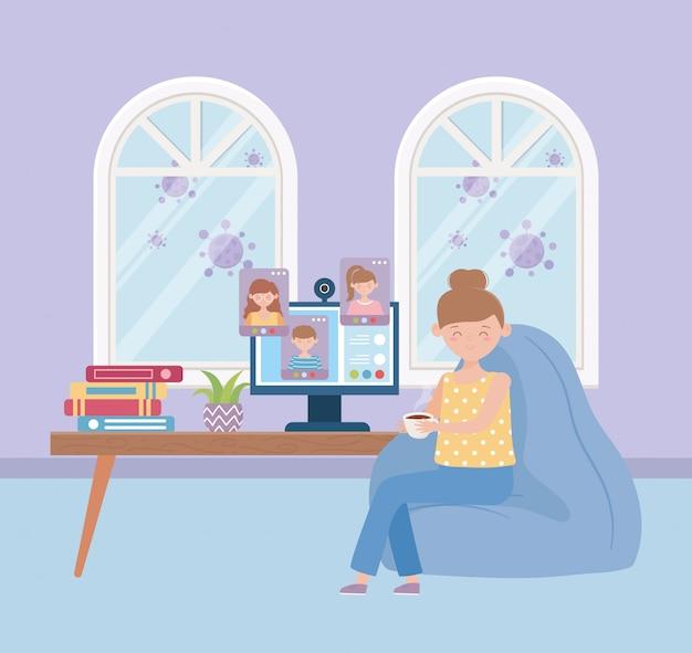 Thuis blijven, vrouw die koffiekopje met computer in de kamer