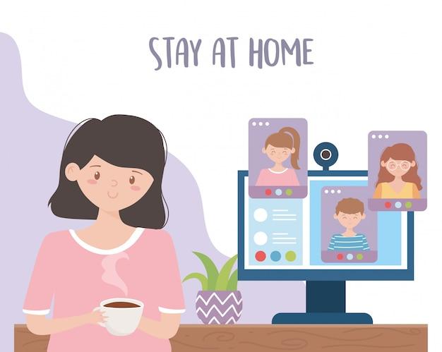 Thuis blijven, vrouw met koffiekopboeken en computer studeren