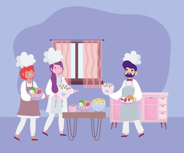 Thuis blijven, vrouwelijke en mannelijke chef-koks verschillende recepten voor cartoonvoedsel, koken