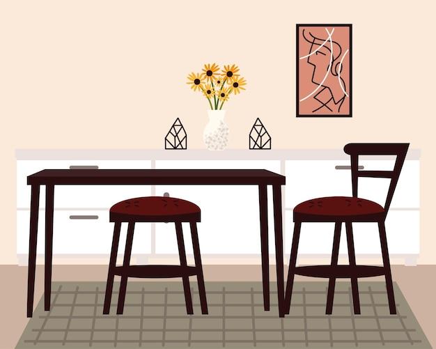 Thuis eetkamer met tafel en stoelen