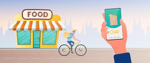 Thuis eten bestellen. de man heeft het geluk om eten op een fiets te bestellen. hand houdt smartphone vast. thuisbezorging, leveringsconcept. vector.