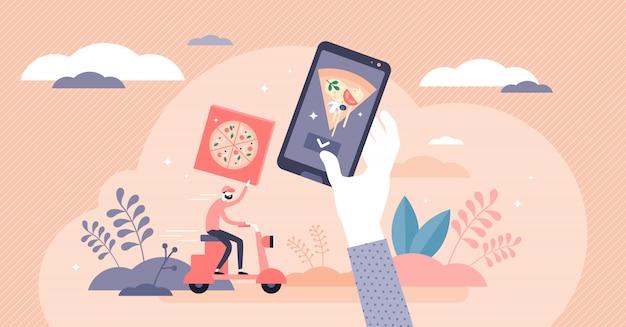 Thuis eten bezorgservice concept, platte kleine persoon