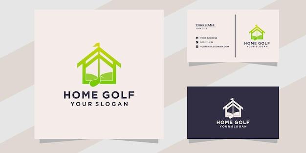 Thuis golf logo en visitekaartje sjabloon