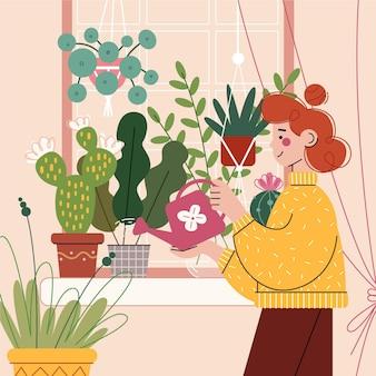 Thuis het tuinieren illustratieconcept