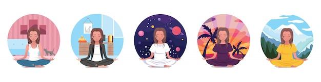 Thuis ingesteld voor yoga, online yoga beoefenen in de kamer, genieten van meditatie, iconen met een meisje in lotushouding ontspannen met haar kat. online cursussen. platte cartoon kleurrijke illustratie