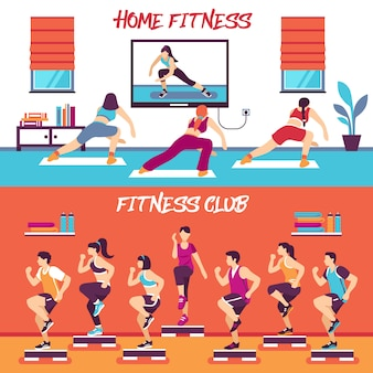 Thuis klasse fitness banners set