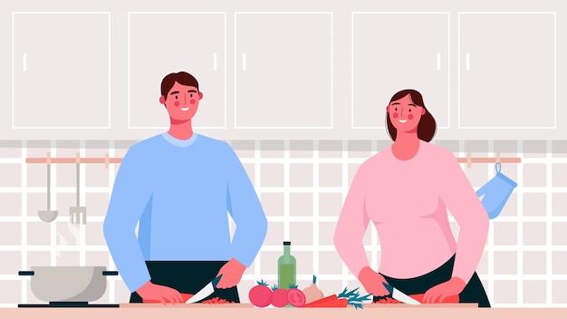 Thuis koken. familie koken van voedsel in de keuken. paar samen koken. vlakke afbeelding