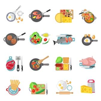 Thuis koken gezond voedsel platte pictogrammen verzameling van vlees salades en visgerechten