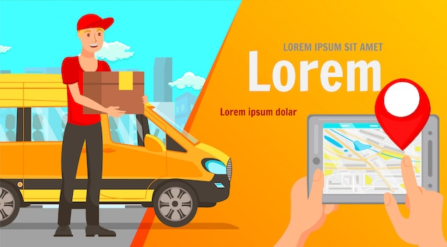 Thuis levering app platte web banner vector sjabloon