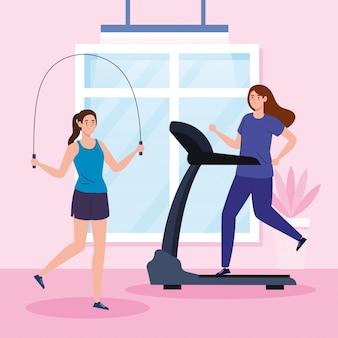 Thuis oefenen, vrouwen die aan sport doen, het huis gebruiken als sportschool