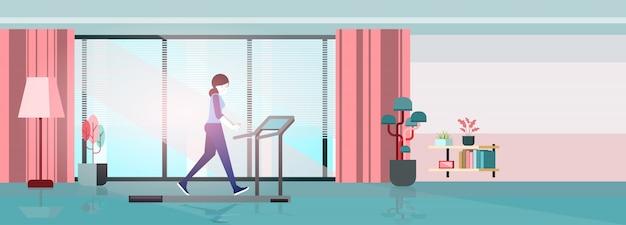 Thuis oefening running machine. vector platte concept met vrouw om thuis te zitten.vector vlakke afbeelding concept