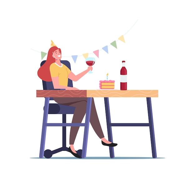 Thuis- of kantoorfeest, jong vrouwelijk personage met feestelijke hoed met wijnglas in ingerichte kamer vier vakantie alleen met alcohol en cake tijdens covid-quarantaine. cartoon vectorillustratie