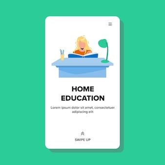 Thuis onderwijs proces schoolmeisje bij bureau vector. meisje schoolboek lezen en werkplek, thuisonderwijs tijd en informatie leren les. karakter studeren web platte cartoon afbeelding