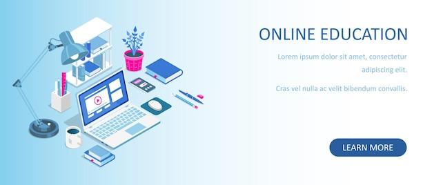 Thuis online leren. isometrische compositie met laptop en boeken. e-learning banner. afstandsonderwijs.
