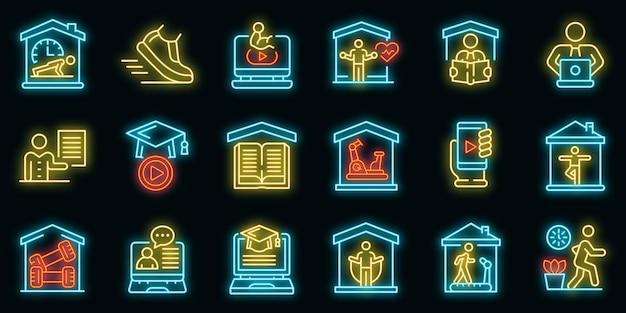 Thuis opleiding pictogrammen instellen. overzicht set van home training vector iconen neon kleur op zwart