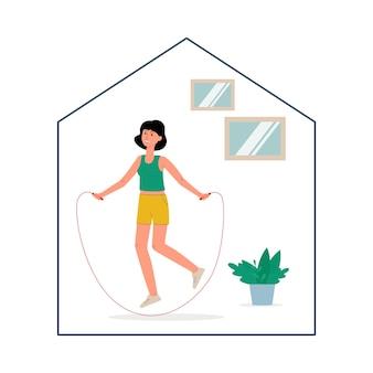 Thuis sport oefening concept met karakter van vrouw overslaan met springtouw, plat geïsoleerd. blijf thuis en blijf gezond onderwerp.