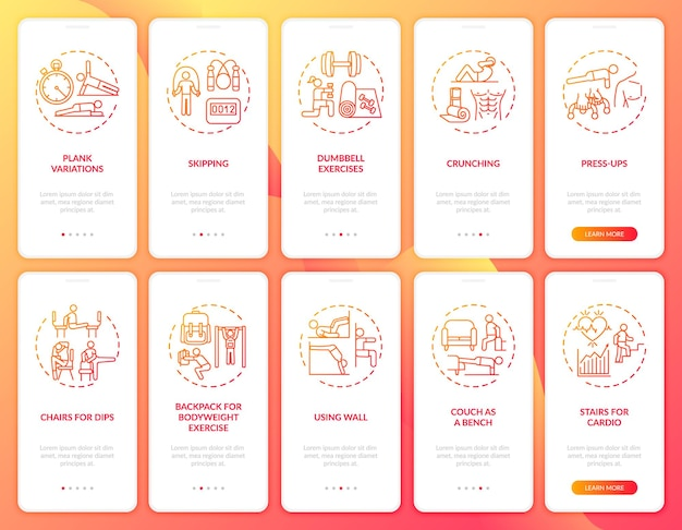 Thuis trainen op afstand via het scherm van de mobiele app-pagina met ingestelde concepten. doorloopstappen voor alternatieven voor fitnessapparatuur. ui-sjabloonillustraties