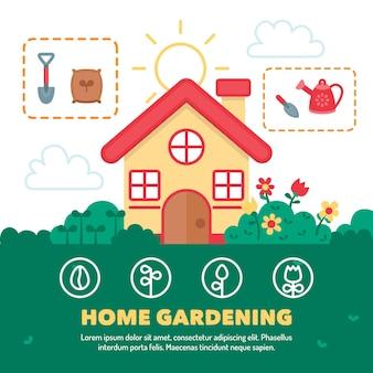 Thuis tuinieren concept illustratie