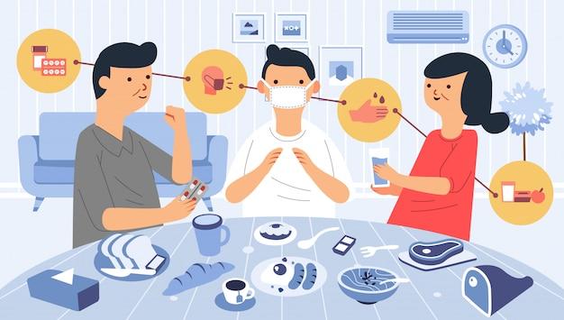 Thuis voor de zieken zorgen met medicijnen, gezonde voeding, hand wassen en masker dragen