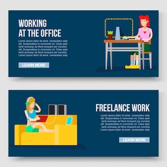 Thuis werken en freelance vectorillustratie met tekstsjabloon. ontspanning. werk waar u maar wilt met plezier. de computer van meisjes freelancer arbeider thuis en met laptop en muzieksprekers op bank.