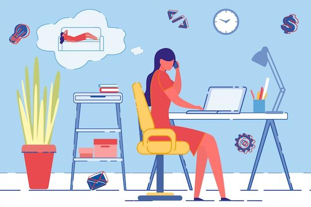 Thuis werken met laptop, nadenken over rust.
