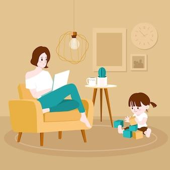 Thuis werken moeder en kind