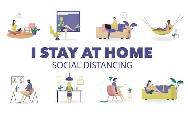 Thuis werkend concept, coworking-ruimte vlakke illustratie. jonge mensen, man en vrouw freelancers werken bij hen thuis. kantoor aan huis in covid-19 crisis. vlakke stijl zelfstandige illustratie