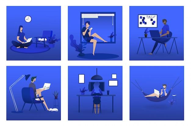 Thuis werkend concept, coworking-ruimte vlakke illustratie. jonge mensen, man en vrouw freelancers werken bij hen thuis.