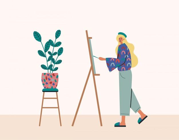 Thuis werkend, coworking ruimte, conceptenillustratie. het jonge vrouwenfreelancers werken, trekt thuis op een schildersezel. mensen thuis in quarantaine. vlakke stijl illustratie