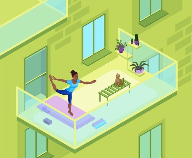 Thuis yoga met afrikaanse vrouw fysieke fitness oefening op het balkon van een flatgebouw