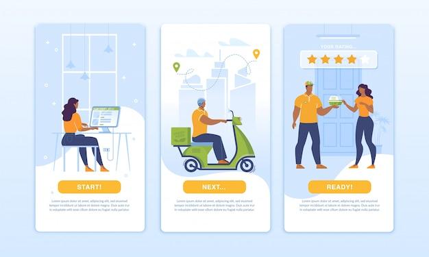 Thuisbezorging mobiele app startpagina ontwerpset