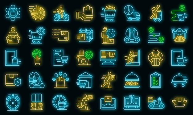 Thuisbezorging pictogrammen instellen. overzicht set van thuisbezorging vector iconen neon kleur op zwart