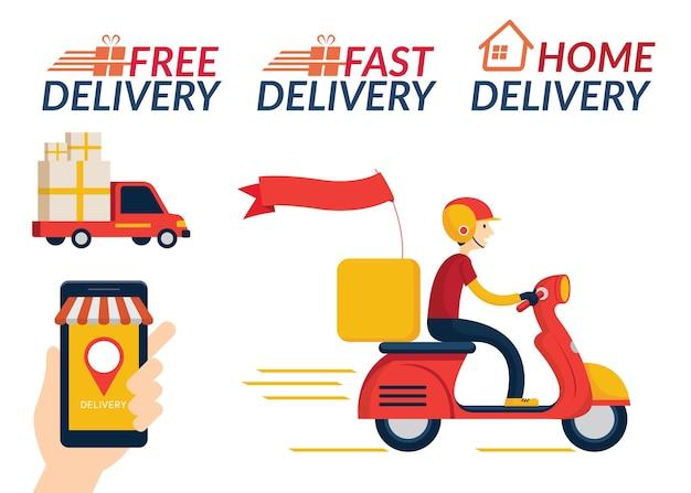 Thuisbezorgservice, online winkelen, verzenden per vrachtwagen en scooter of motorfiets
