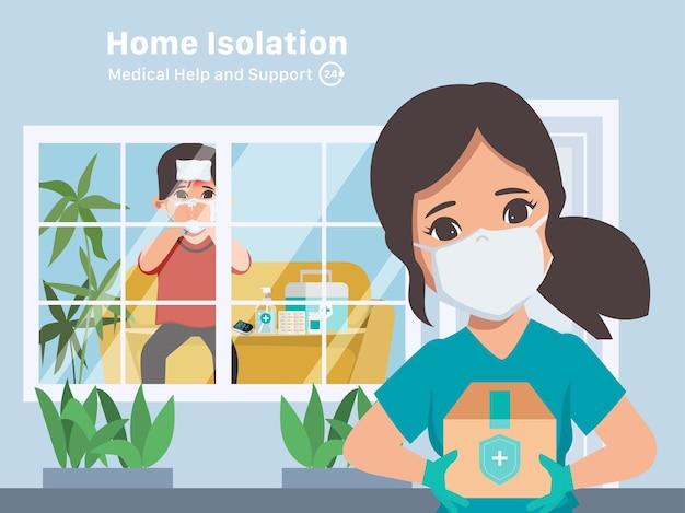 Thuisisolatie hulpverlener helpt en ondersteunt patiënt tijdens ziekte covid19