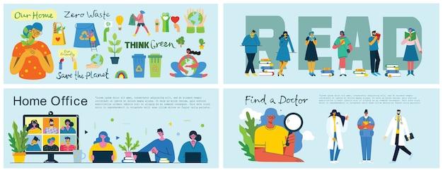 Thuiskantoor, boeken lezen, de planeet redden en een arts-conceptillustratie in plat en schoon ontwerp vinden.