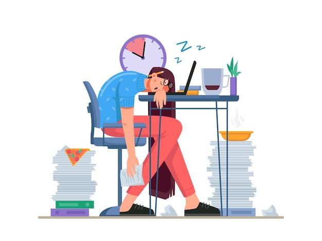 Thuiskantoor problemen van freelancers werknemer met onregelmatige werkuren slapen en eten bij