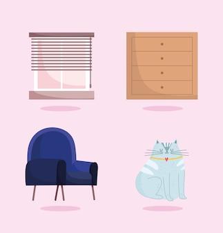 Thuiskantoor stoel venster kabinet en kat mascotte pictogrammen.