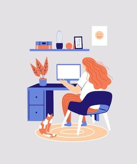 Thuiskantoor werkplek freelance vrouw die thuis werkt werken op afstand online studeren onderwijs